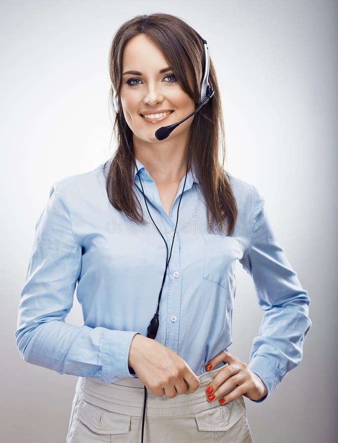 女商人顾客服务操作员 电话cente 免版税库存照片