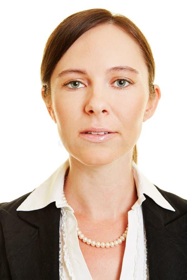 女商人额骨的中立面孔 免版税库存照片