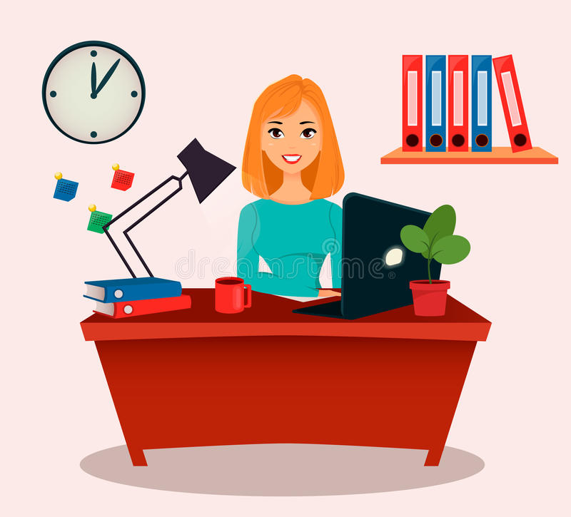 女商人,办公室工作者 坐在桌上的美丽的女孩,与膝上型计算机一起使用 库存例证