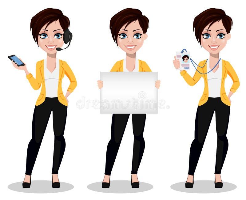 女商人,自由职业者,银行家 便衣的美丽的夫人 向量例证