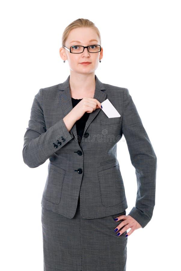 女商人画象玻璃的与信用卡 免版税库存图片