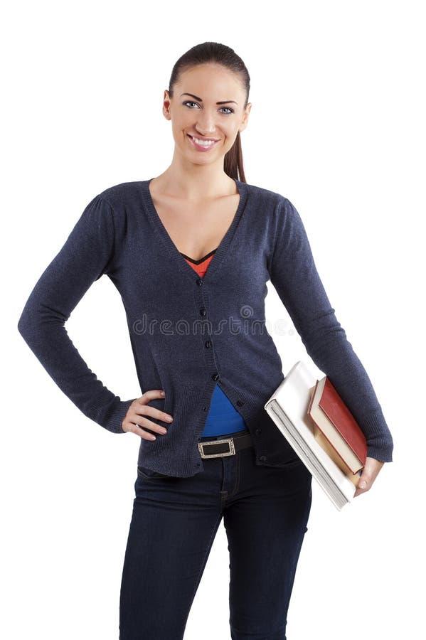 女大学生微笑 免版税库存图片