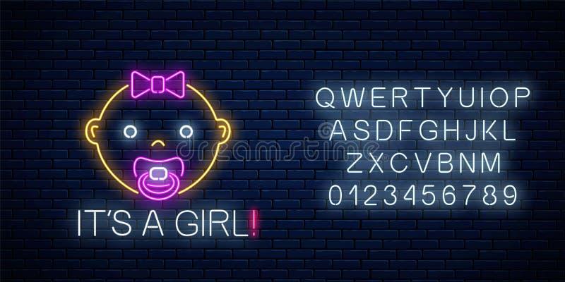 女婴与字母表的诞生庆祝的发光的霓虹灯广告 Newbaby生日在霓虹样式的祝贺牌 向量例证