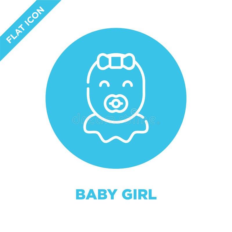 女婴从婴孩玩具汇集的象传染媒介 稀薄的线女婴概述象传染媒介例证 线性标志为使用 向量例证