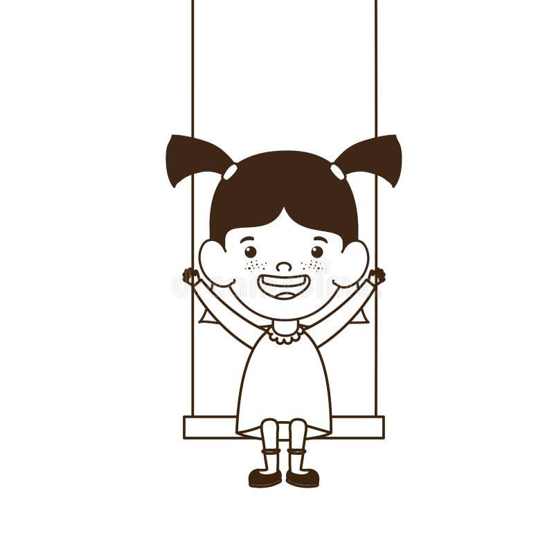 女婴剪影摇摆微笑的 库存例证