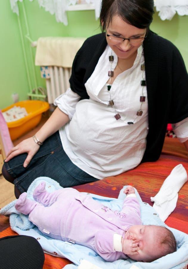 女婴孕妇 图库摄影