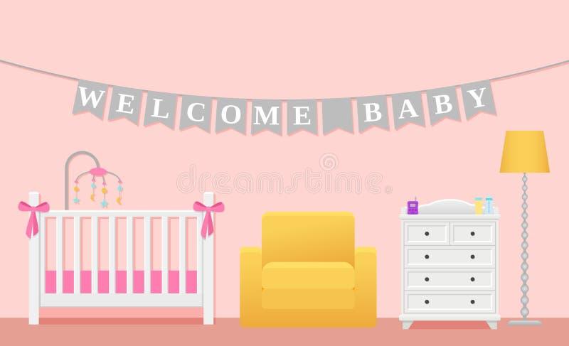 女婴室内部 在平的设计的传染媒介例证 皇族释放例证