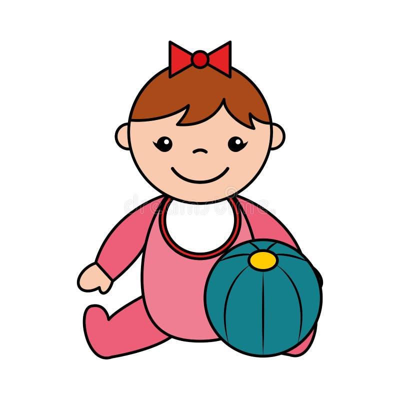 女婴橡胶球玩具 库存例证