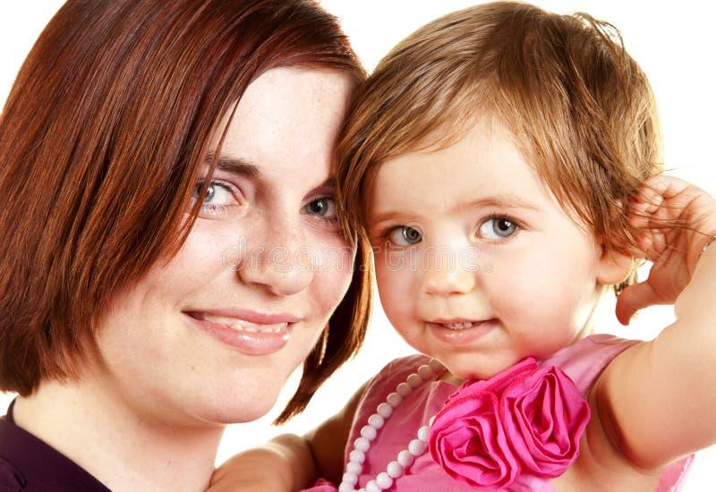 女婴母亲年轻人 库存图片