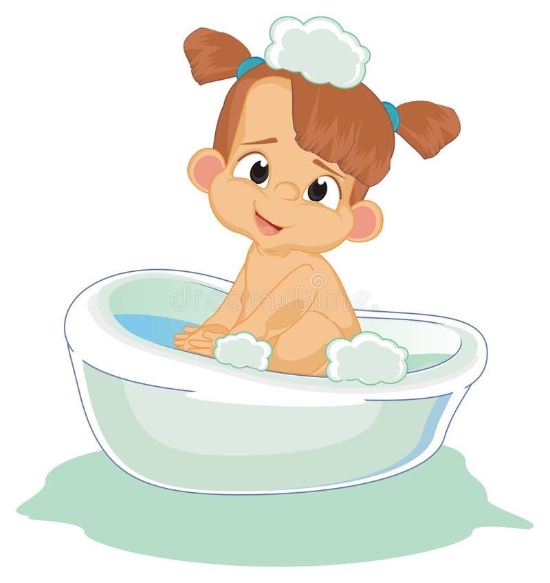 女婴洗涤 向量例证