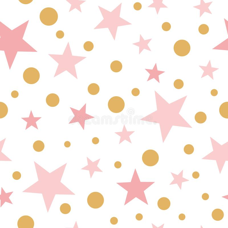 女婴的传染媒介桃红色无缝的样式金星桃红色backgound婴儿送礼会甜桃红色墙纸 向量例证