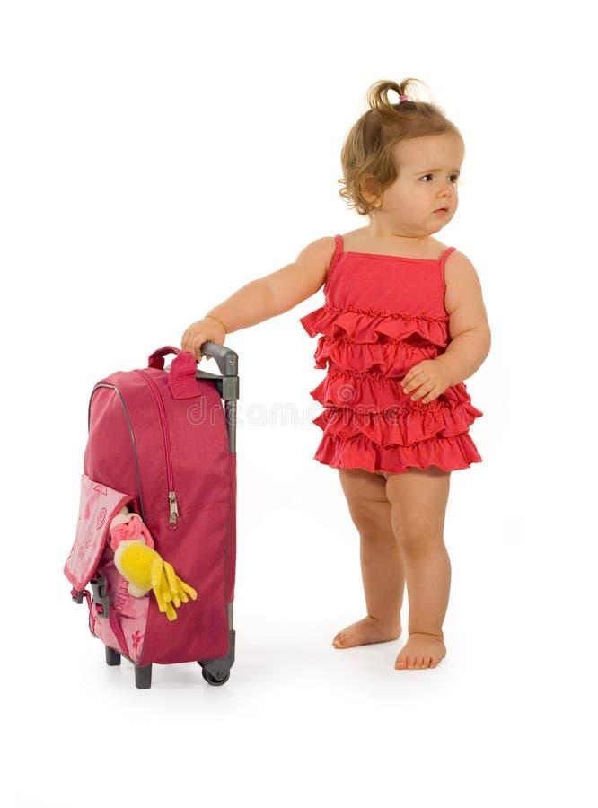 女婴红色记录 免版税库存照片