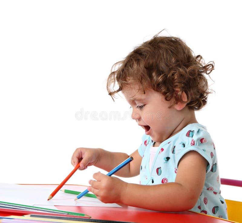 女婴绘画 库存图片