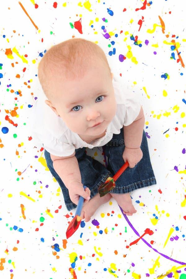 女婴绘画 免版税库存照片