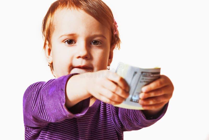 女婴给您美元钞票金钱,成功, payme 免版税库存照片