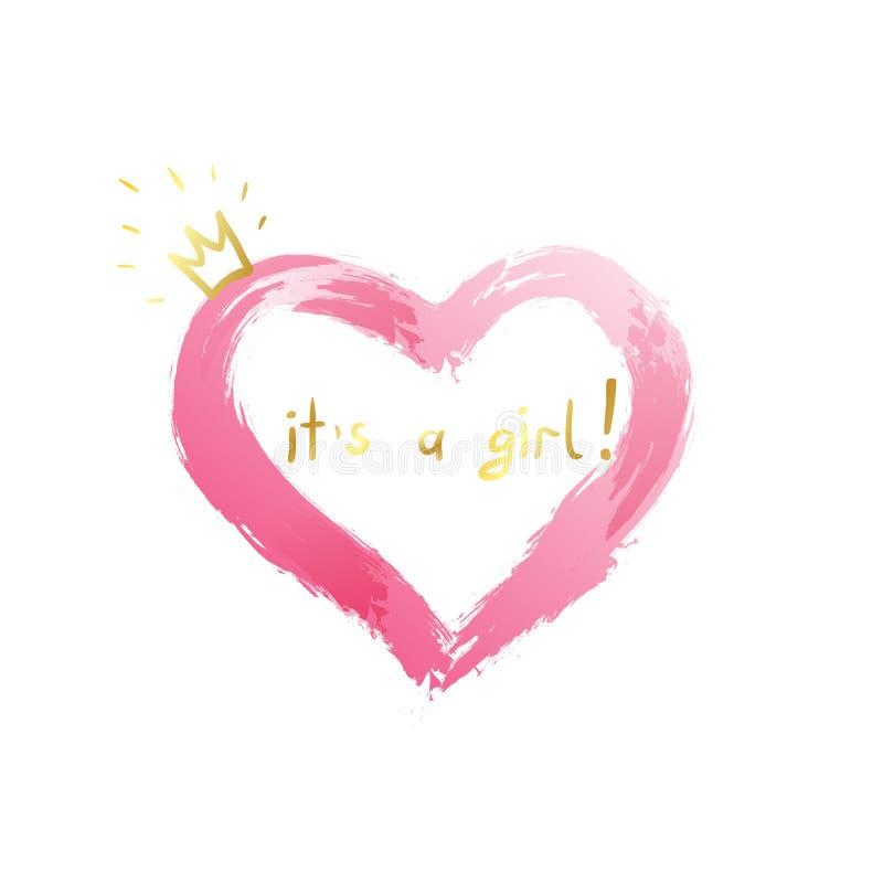 女婴诞生公告、婴孩卡片设计与一个桃红色心脏和金冠和消息它` s女孩 库存例证