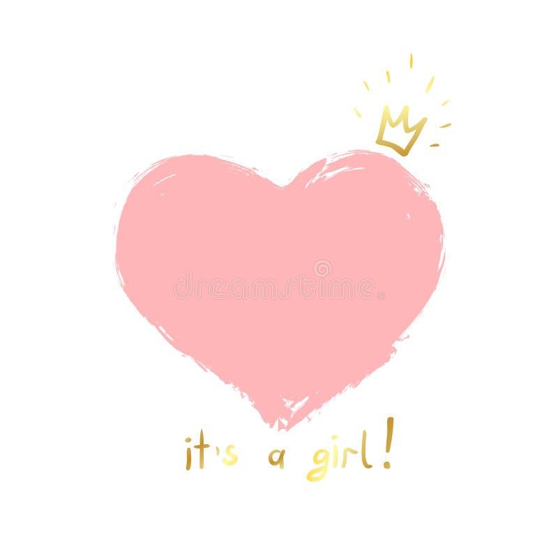 女婴诞生公告、婴孩卡片设计与一个桃红色心脏和金冠和消息它` s女孩 皇族释放例证