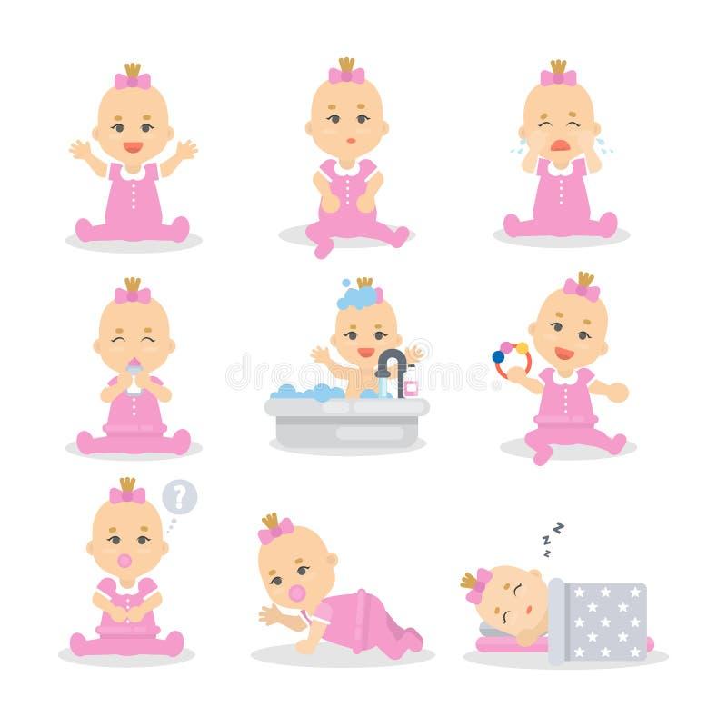 女婴集合 向量例证
