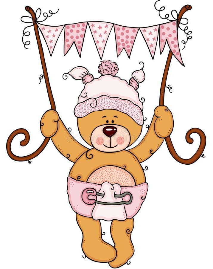 女婴飞行的玩具熊拿着一副桃红色旗子横幅 向量例证