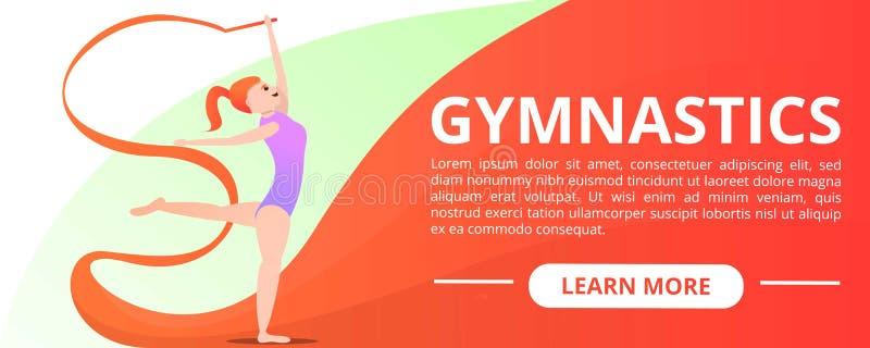 女子体操概念横幅,动画片样式 向量例证
