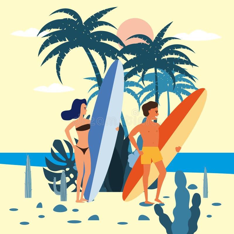 女子和人与冲浪板的冲浪者在棕榈海,海洋异乎寻常的植物背景的字符在比基尼泳装和短裤  皇族释放例证