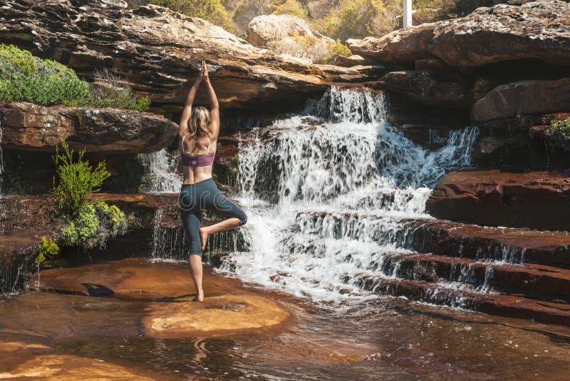 女子在瀑布设置的瑜伽asana 库存照片