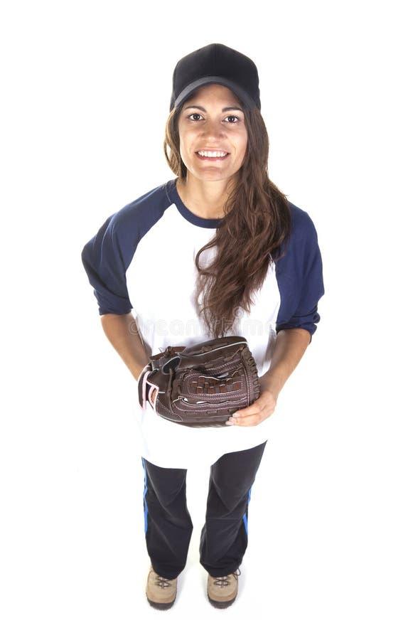 女子棒球或垒球运动员 免版税库存图片