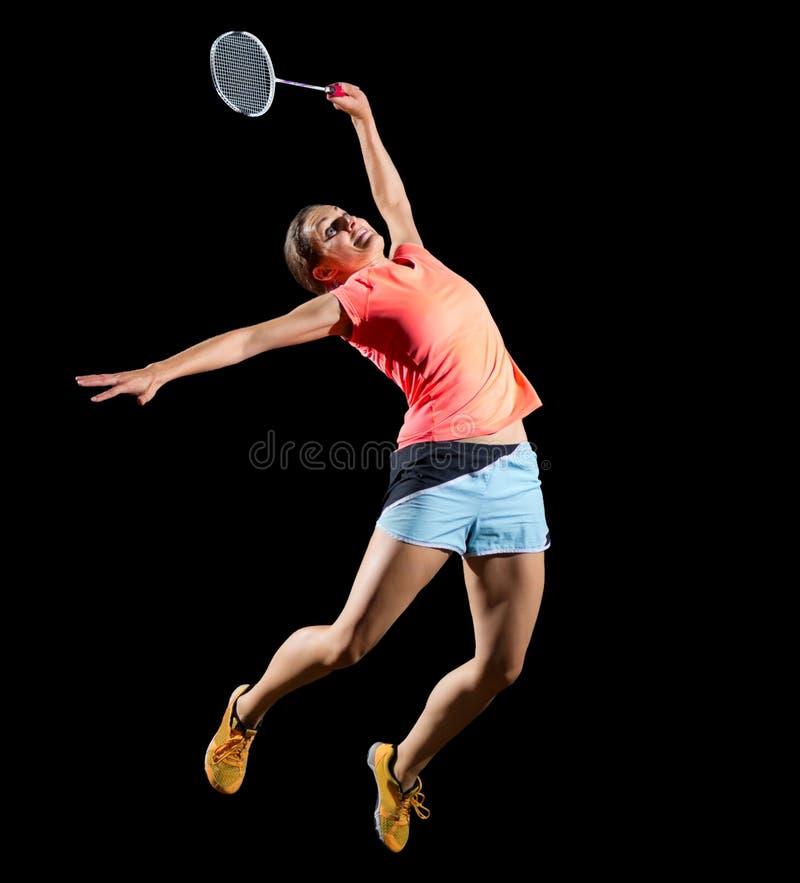女子没有shuttlecock ver的羽毛球球员 免版税库存图片