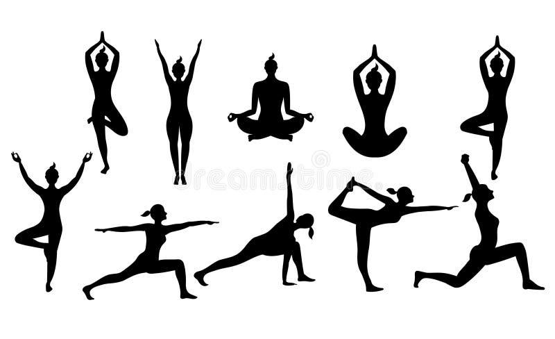 女子瑜伽摆在传染媒介剪影 库存例证