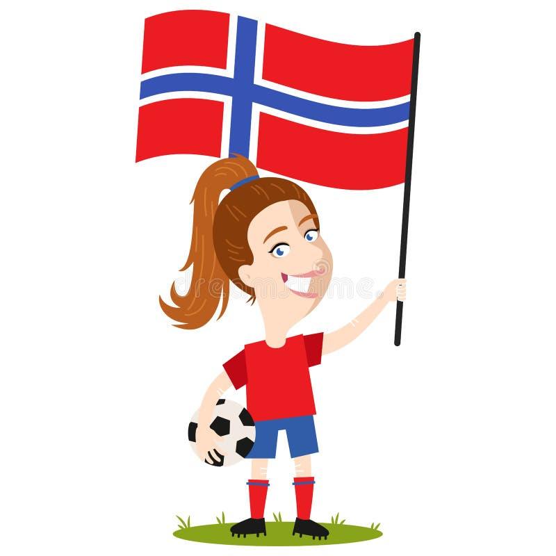 女子的橄榄球,女性球员属于挪威,拿着挪威旗子的动画片妇女穿着红色衬衣和蓝色短裤 库存例证