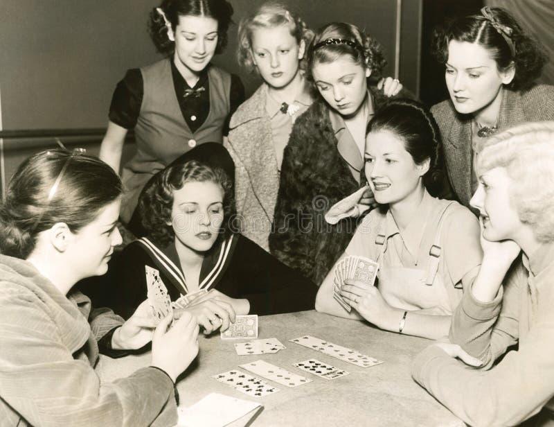 女子纸牌 库存图片