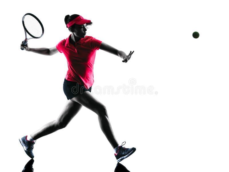 女子网球员悲伤剪影 免版税库存图片