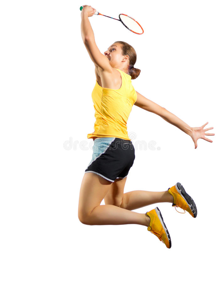 女子羽毛球没有网和shuttlecock的球员版本 免版税库存图片