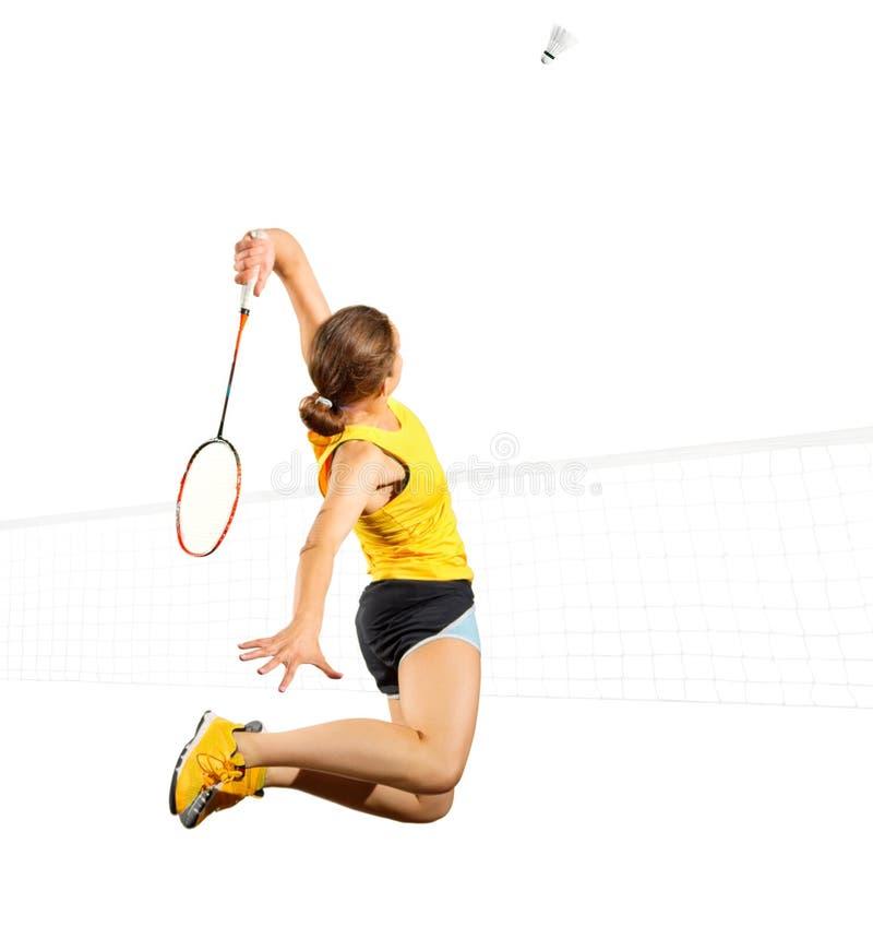 女子羽毛球球员隔绝与净版本 免版税库存图片