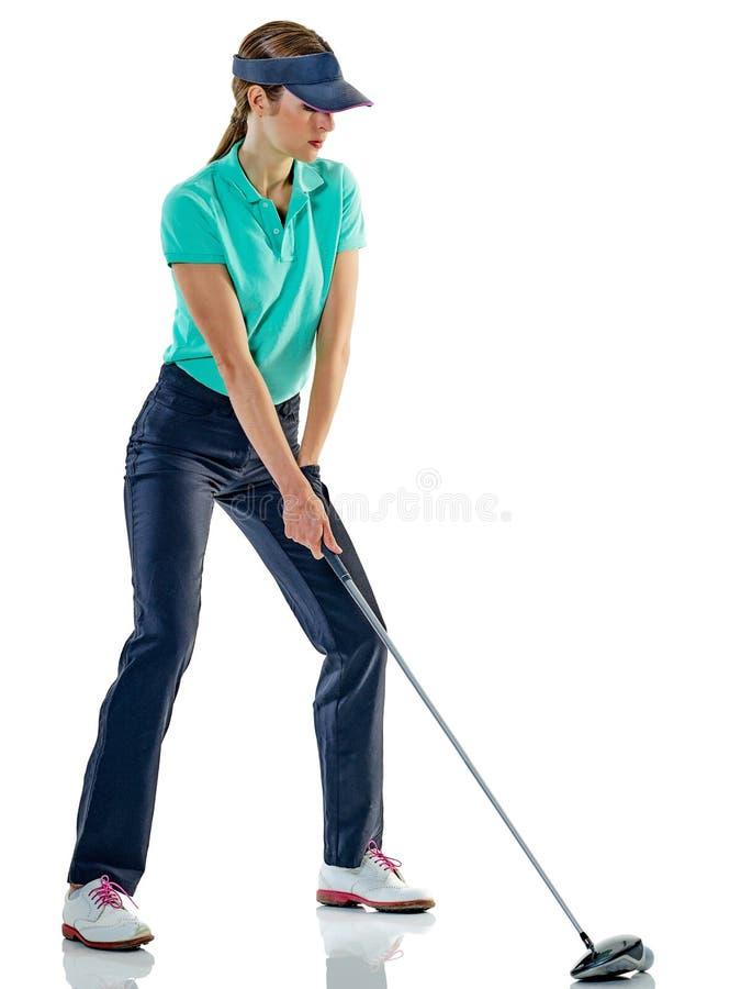女子被隔绝的高尔夫球运动员打高尔夫球 免版税库存照片