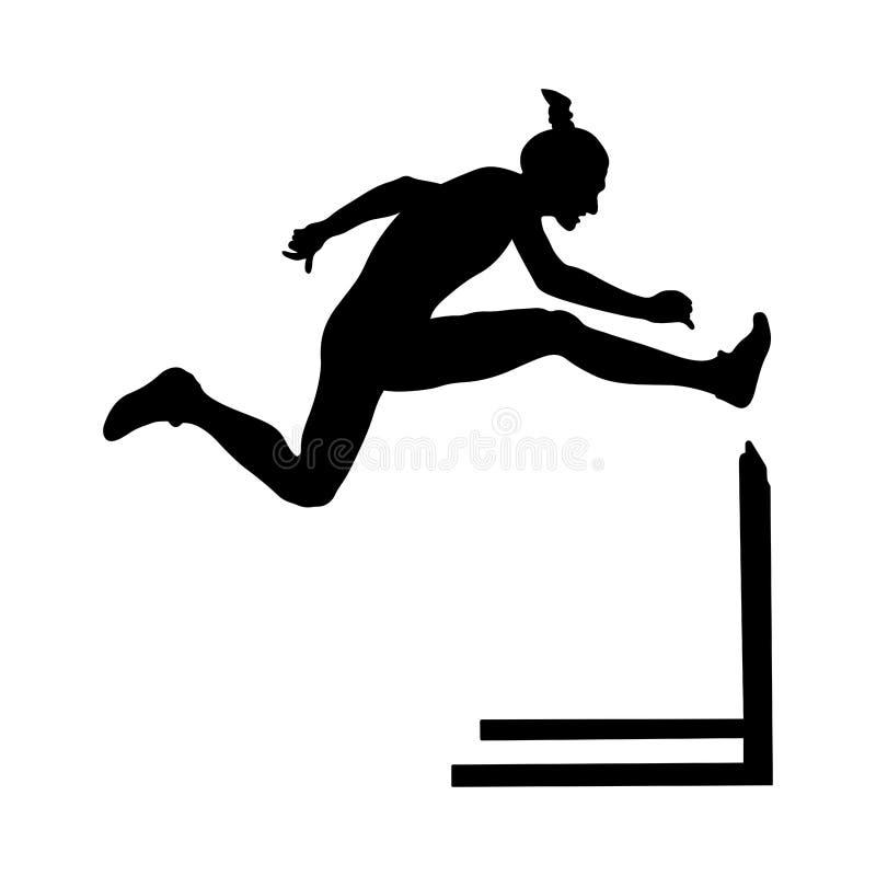 女子运动员赛跑者跑的障碍 向量例证