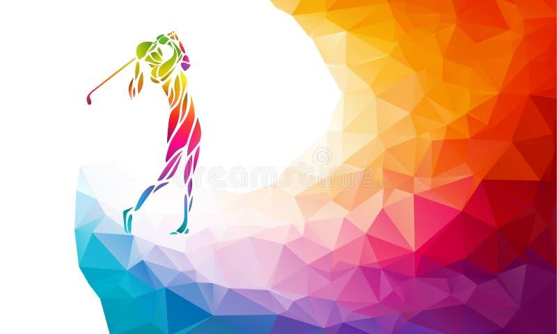 女子高尔夫球运动员剪影  eps10开花橙色模式缝制的rac ric缝的镶边修整向量墙纸黄色 皇族释放例证