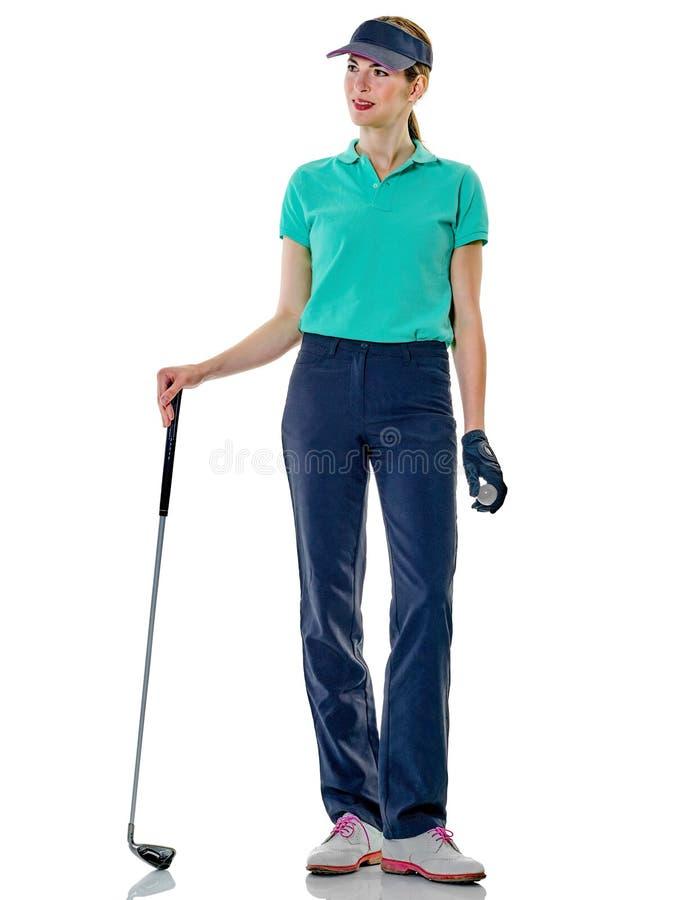女子高尔夫球运动员打高尔夫球 免版税库存图片