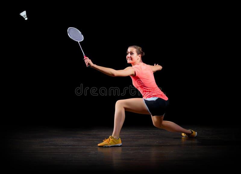 女子黑版本的羽毛球球员 免版税图库摄影