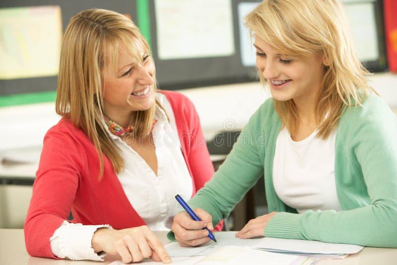 女学生学习少年 免版税图库摄影