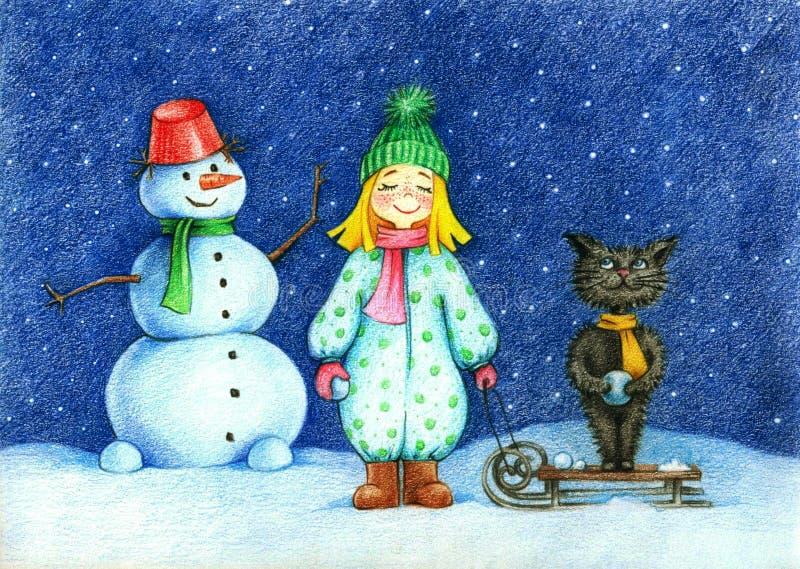 女孩、猫和雪人身分的手拉长的图片在飞行的雪花下的 皇族释放例证