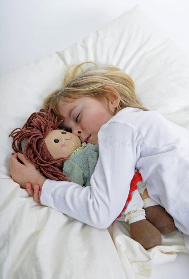 女孩一点休眠 免版税库存图片