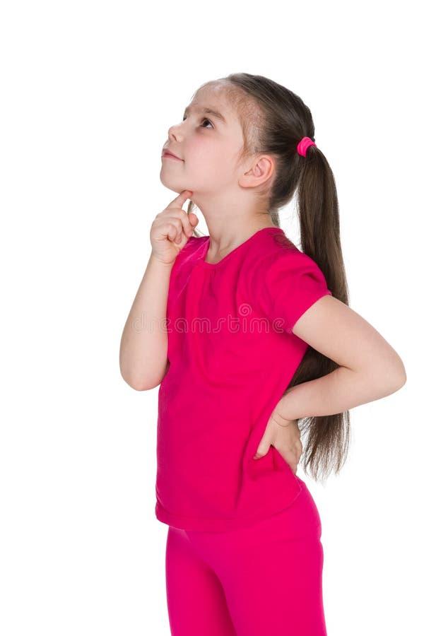 女孩一点查寻 免版税库存图片