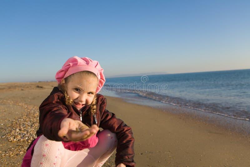 女孩一点海运开会 免版税库存照片