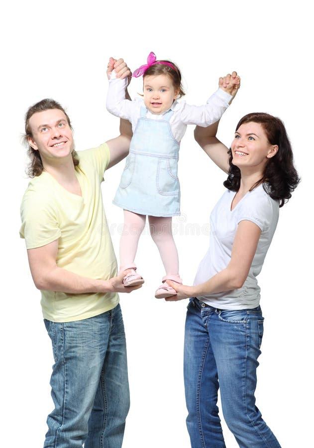 女孩一点父项技术支持 免版税库存图片