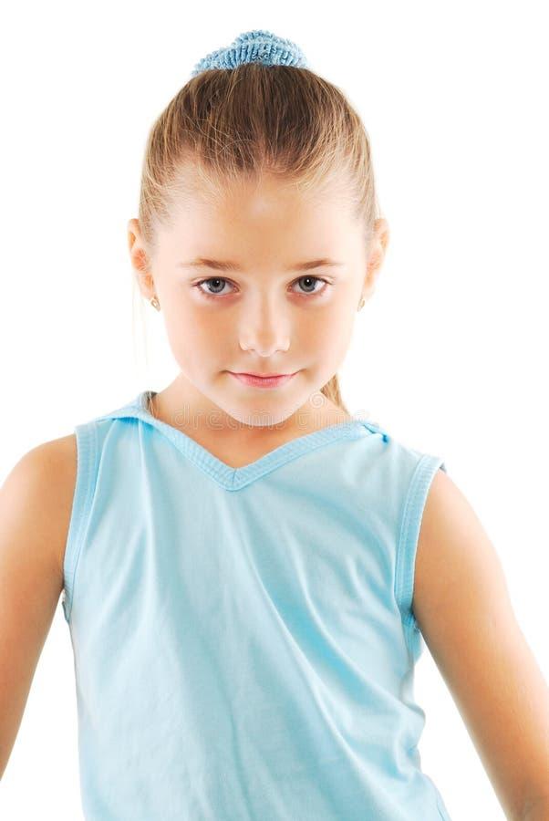 女孩一点田径服白色 免版税库存图片