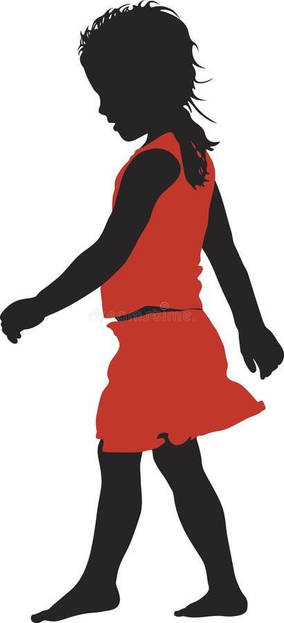 女孩一点红色裙子 免版税库存图片