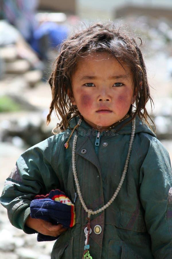 女孩一点藏语 免版税库存图片