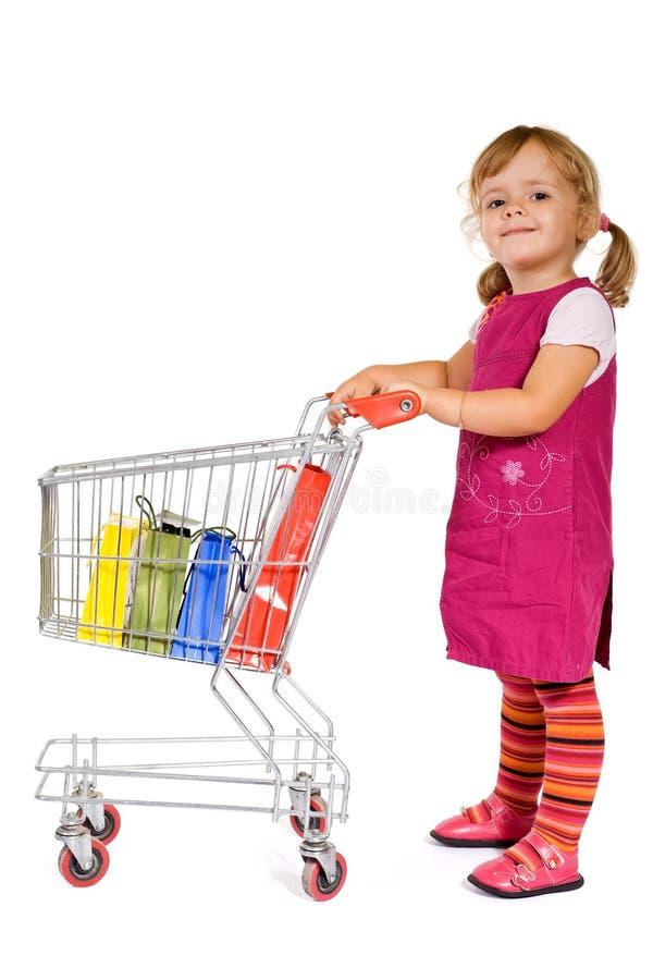 女孩一点购物 库存图片