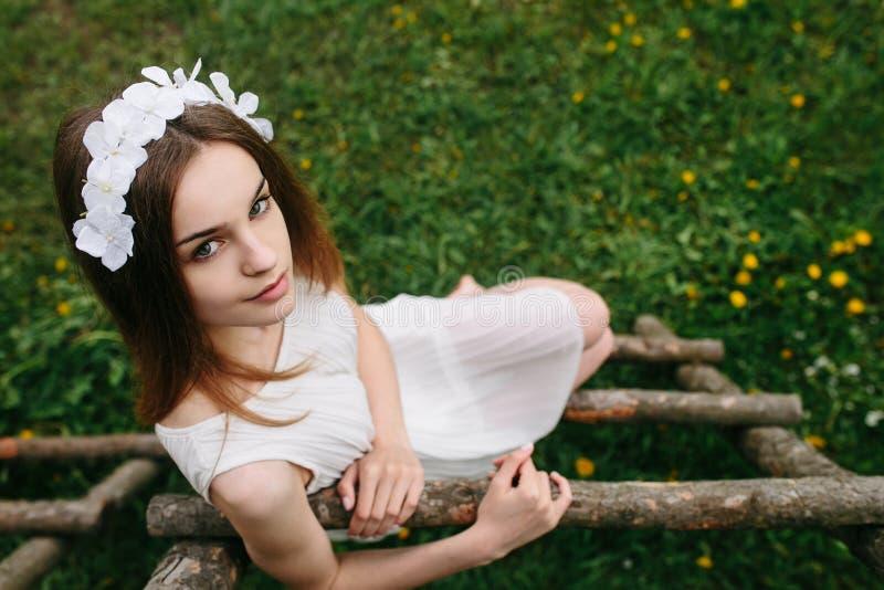 女孩上升的梯子到树上小屋里 免版税库存照片